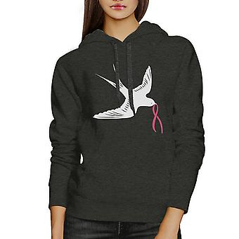 Pink Ribbon Swallows Birds Unisex Hooded Sweatshirt Cancer Support