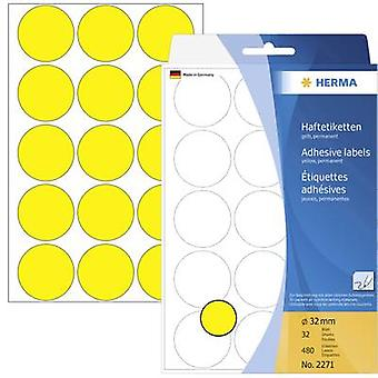 Herma 2271 Sticky dots Ø 32 mm Yellow 480 pc(s) Permanent Paper