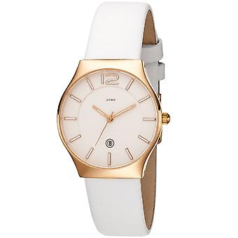 JOBO ladies wrist watch quartz analog stainless steel Rosé gold plated leather strap white