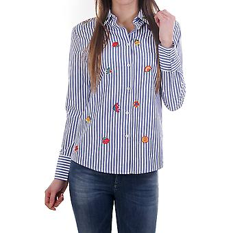 PS Paul Smith Womens Stripe Shirt With Embroidered Flowers