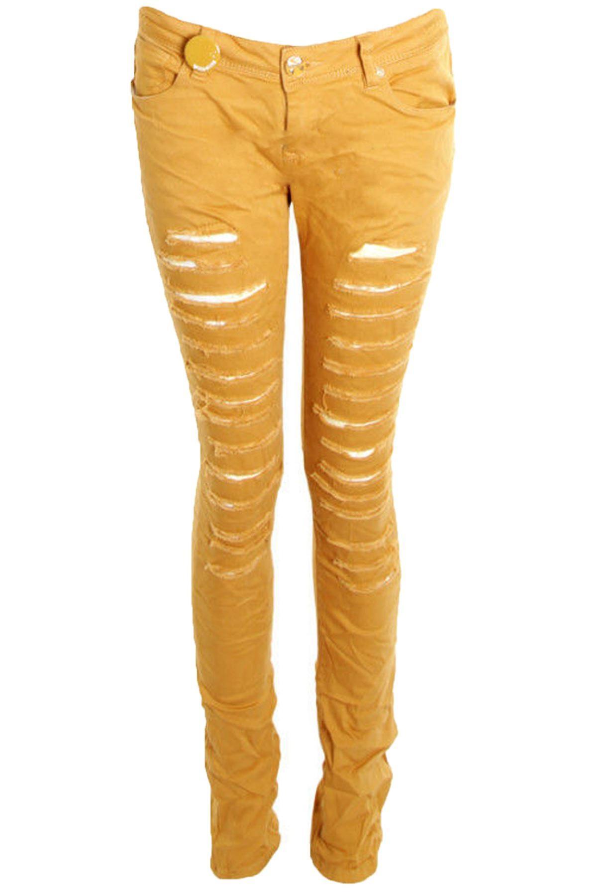 Hyvät värillinen Denim Slim laiha repäisi vaikutus naisten housut farkut
