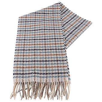 Bassin and Brown Cantana Checked Wool Scarf  - Blue/Brown/Beige