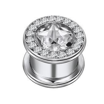 Øre Flesh Tunnel Piercing stjerne med Multi krystal klar, krop smykker | 8-16mm