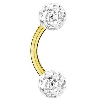 Placcato oro Barbell curvo titanio 1.2 mm, Multi sfera di cristallo bianco | 6 - 12 mm