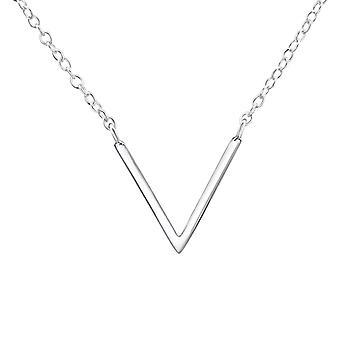 V Şekilli - 925 Sterling Gümüş Düz Kolye - W37242x