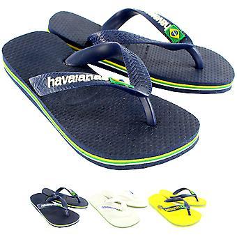 Unisex Kids Havaianas Brasil Logo Rubber Jelly Slip On Summer Flip Flops