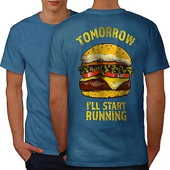 Workout Gym Funy Men Royal BlueT-shirt Back | Wellcoda
