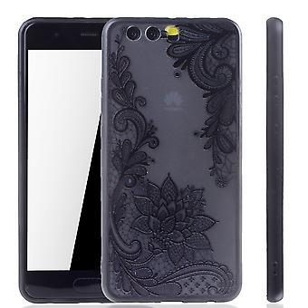 Mandala de Mobile Shell para Huawei P10 plus diseño funda adorno flor cubierta caso parachoques negro
