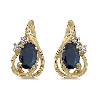 LXR 14k Yellow Gold Oval Sapphire and Diamond Teardrop Earrings 0.78ct