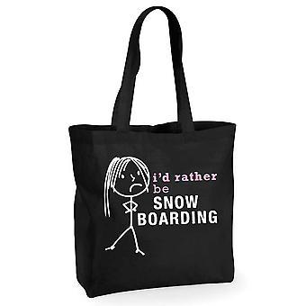 Damene jeg vil heller være snø ombordstigning svart bomull Shopping Bag