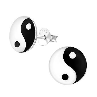 Yin And Yang - 925 Sterling Silver Colourful Ear Studs - W11985x
