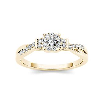 Igi certified 14k yellow gold 0.25 ct natural diamond cluster engagement ring