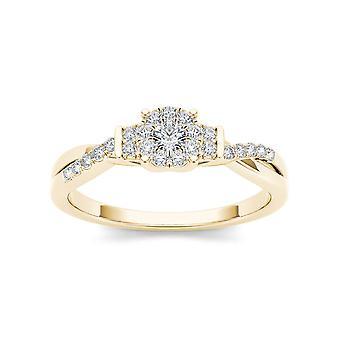 Igi certifierad 14k gult guld 0,25 ct naturlig diamant kluster förlovningsring