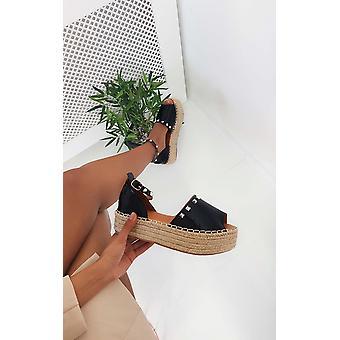 IKRUSH Womens Poppie Studded Peep Toe Espadrille Sandal