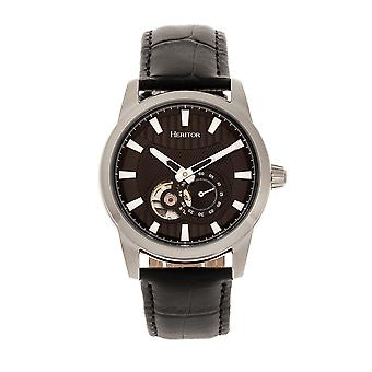 Heritor Automatic Davidson Semi-Skeleton Leather-Band Watch - Silver/Black