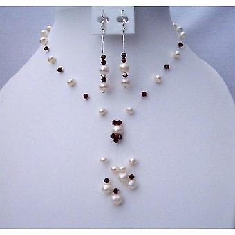 Håndlavede Swarovski mørke Siam røde krystaller & ferskvands perler smykker