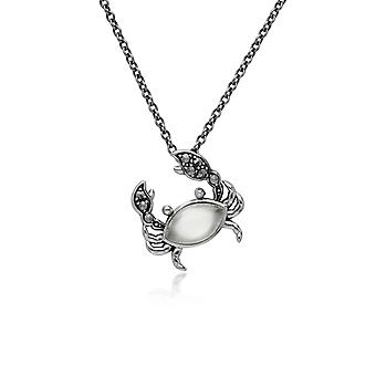 Classic Marquise Moonstone & Marcasite Crab Necklace in 925 Sterling Silver 214N699302925