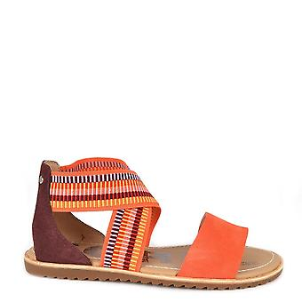 Sorel Ella Orange Suede Flat Sandal
