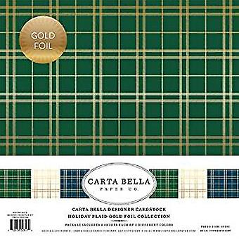 Carta Bella Holiday Plaid Gold Foil 12x12 Inch Collection Kit