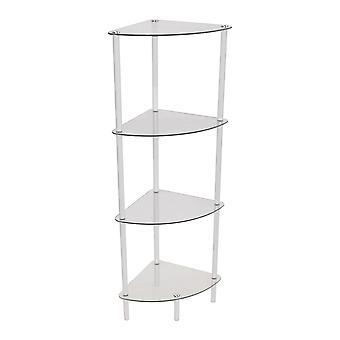 Corbin - 4 Stufe Glas Ecke Speicher / Display Regale - White