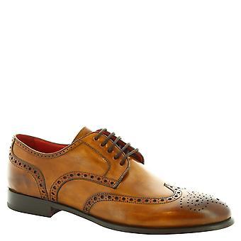 Handmade wingtip Oxford brogues de Leonardo chaussures en veau sienna