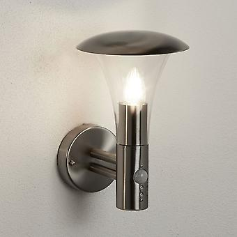 Searchlight Strand Stainless Steel Outdoor Wall Light With Integrated PIR Motion Sensor