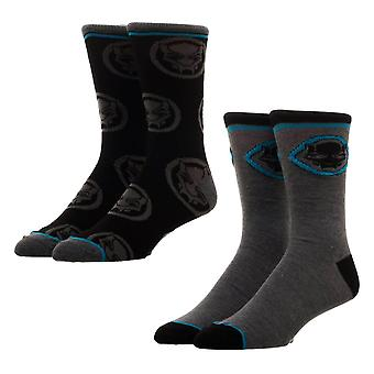 Marvel Black Panther Crew Socks Set (2 Pairs)  - ONE SIZE
