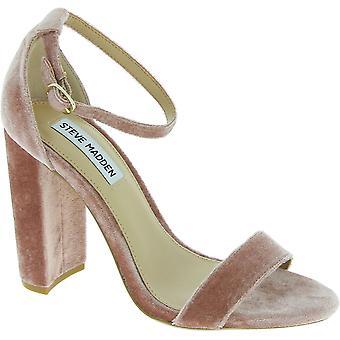 Steve Madden mulheres tornozelo cinta bloco saltos sandálias em pó de veludo rosa
