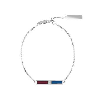 Colorado Avalanche Sterling Silver Diamond Chain Chain Bracelet In Red and Blue