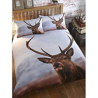 Hirsch Doppel Bettbezug und Kissenbezug Set