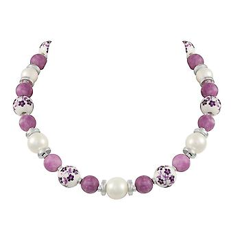 Eternal Collection Meadow Purple Floral Silver Tone Beaded Necklace