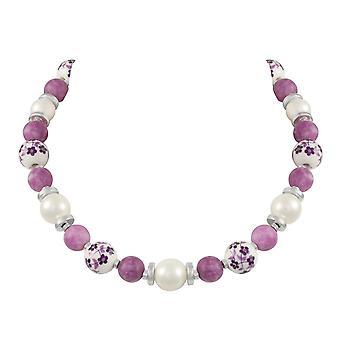 Éternelle Collection Meadow violet Floral fermoir collier perlé