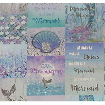 Arthouse Mermazing Ice Blue glitter sjöjungfru collage skal inspirerande citat tapeter 698304