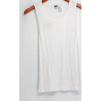 Free Press Top Sans manches Ribbed w/ Rounded Neckline White