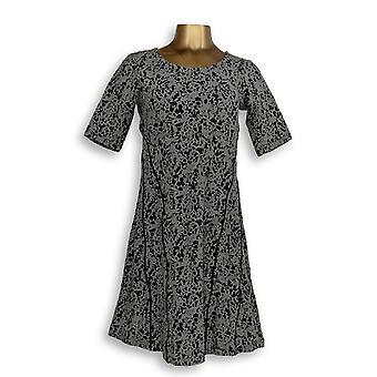 Isaac Mizrahi Live! Vestido XXS Scroll Knit Jacquard Fit & Flared Negro A293930