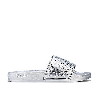 Womens Slydes Chance Slide Sandals in silver.