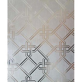 Sølv geometrisk folie tapet metallisk vinyl tekstureret Shimmer Arthouse Gianni