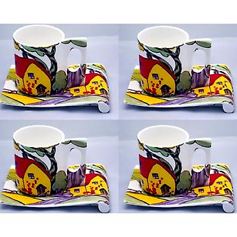 English Bone China set of 4 Art Deco coffeecups and saucers