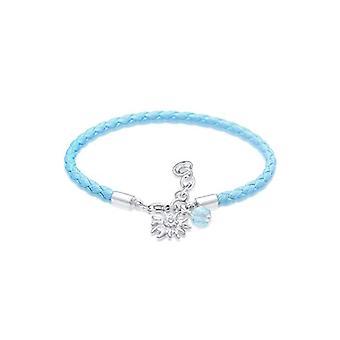 Elli kvinna 925 silver rund blå kristall