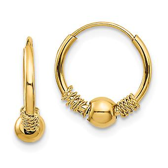 14k Gul guld Endless Hoop med perle øreringe smykker gaver til kvinder
