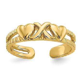 14 k Gelbgold poliert Liebe Herzen und X Toe Ring Schmuck Geschenke für Frauen - 1,3 Gramm