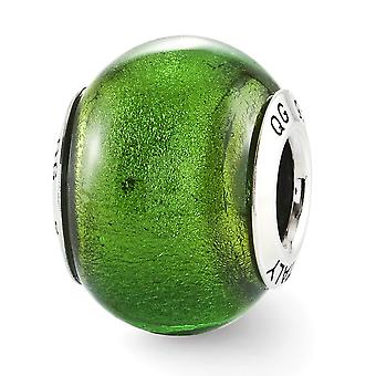925 Sterling Silver Polished Antique finish Reflections Green Italian Murano Glass Bead Charm