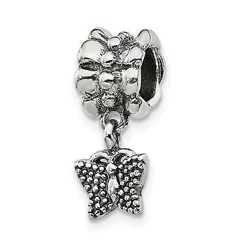 925 Sterling Sølv Polerte Refleksjoner Butterfly Angel Vinger Dangle Perle Sjarm Anheng Halskjede Smykker Gaver til Wome