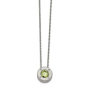 Edelstahl Fancy Hummer Verschluss poliert CZ Zirkonia simuliert Diamant Mai Halskette 20 Zoll Schmuck Geschenke fo