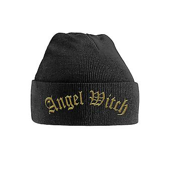 Angel Witch Beanie Hat Gold Band Logo new Official Black Embroidered