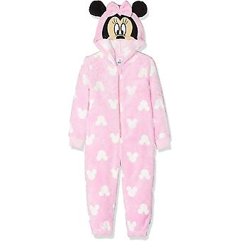 Mädchen HS2224 Disney Minnie Mouse Kapuze Koralle Fleece Schlafanzüge / Body Pyjamas