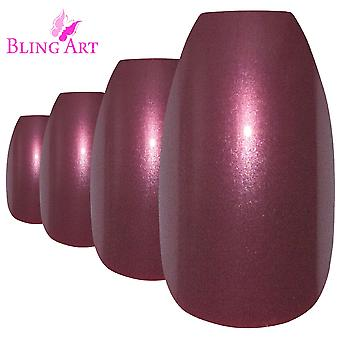 Faux ongles de brun-rouge art bling paillettes ballerine cercueil 24 faux long pointes