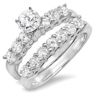 Dazzlingrock Collection 1,75 Carat (CTW) 14k runde diamant damer brude engagement ring sæt 1 3/4 CT, hvid guld