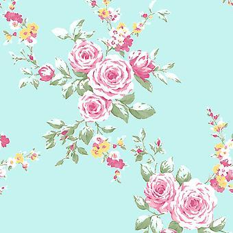 Catherine Lansfield Canterbury Floral Wallpaper Ente Ei / rosa Muriva 165500