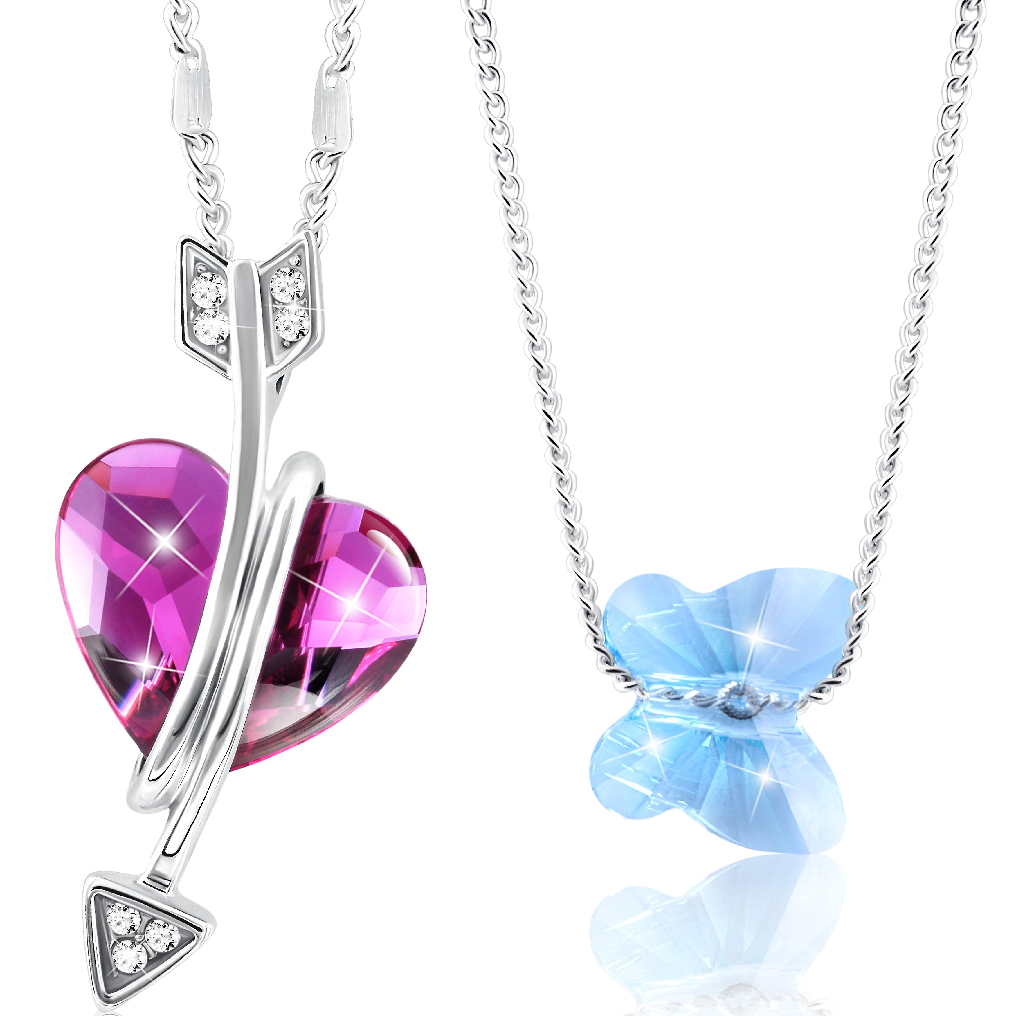 Rhodium plated necklaces set with swarovski crystals by 2splendid. set of 2. with beautiful box. nnqz040-41